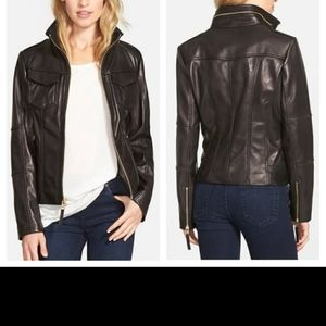 Michael kors 100 % leather  moto  biker jacket.